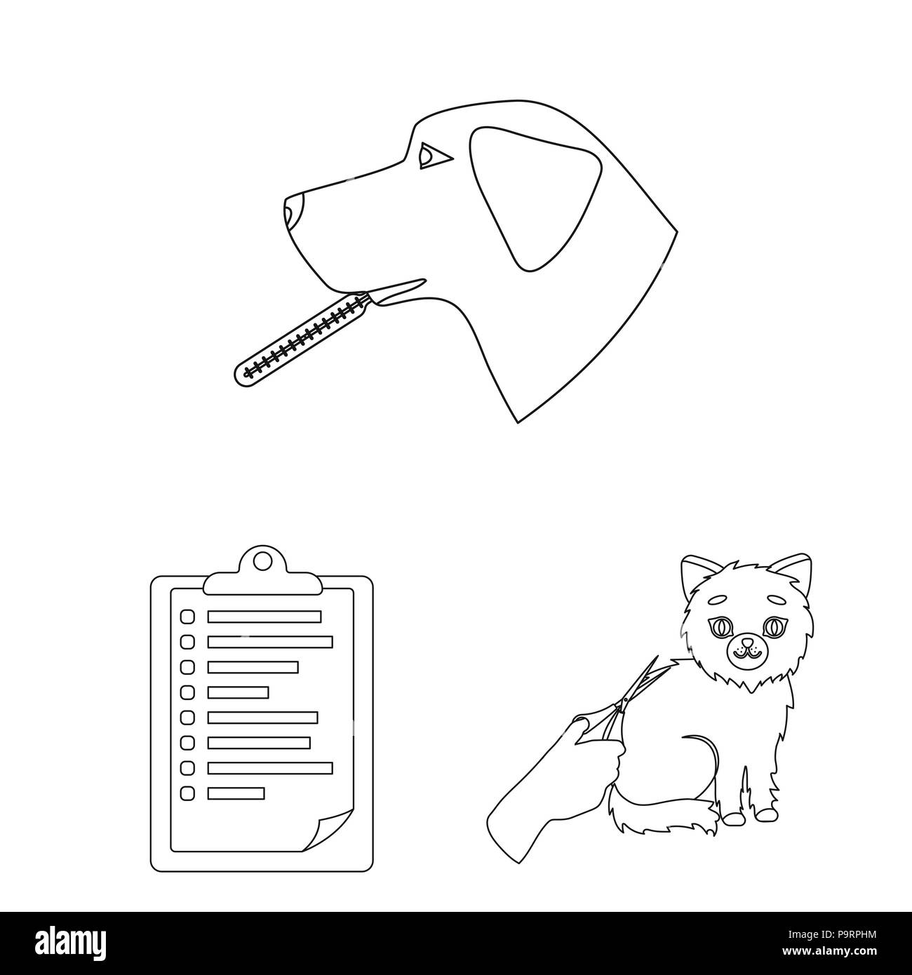 hight resolution of veterinary clinic outline icons in set collection for design treatment of a pet vector symbol stock illustration