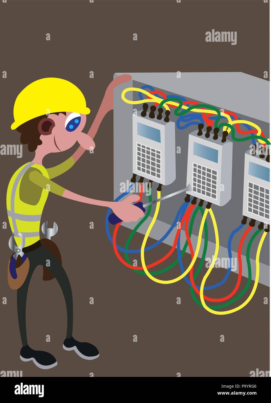 hight resolution of an electrician busy repairing a damaged main switch stock image