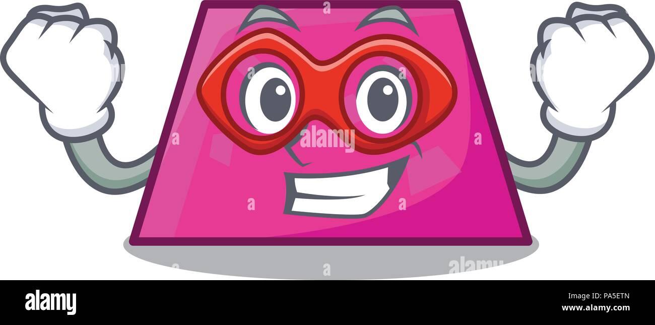 hight resolution of super hero trapezoid character cartoon style vector illustration