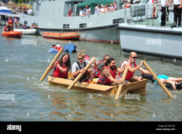 On A Very Hot Afternoon A Bristol Cardboard Boat Race Took Place At The Bristol Harbour Festival Thousands Of People Watched From Around The Dockside Edge