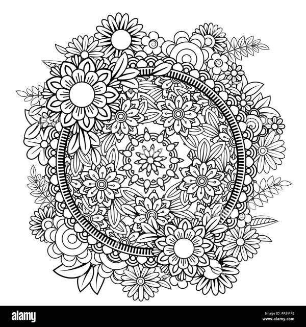 Adult Coloring Page With Flowers Pattern. Black And White Doodle Wreath. Floral Mandala. Bouquet