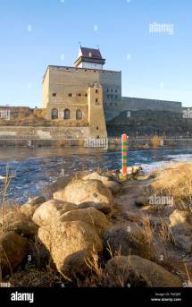 Estonia Narva Ivangorod Fortress Stock &