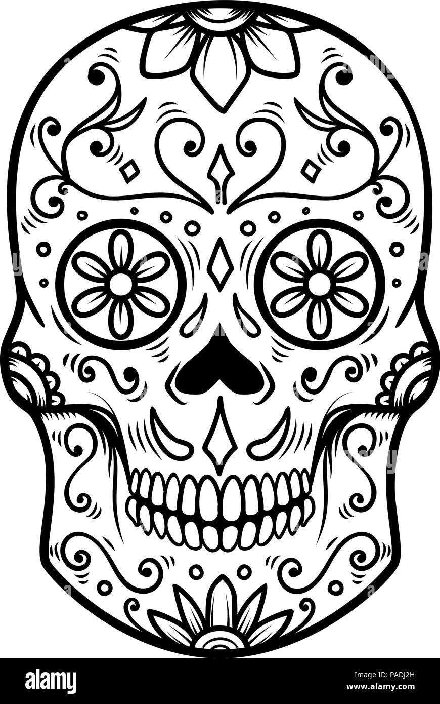 Day Of The Dead Skull Drawing Easy : skull, drawing, Sugar, Skull, Isolated, White, Background., Dead., Muertos., Design, Element, Poster,, Card,, Banner,, Print., Vector, Illustration, Stock, Image, Alamy
