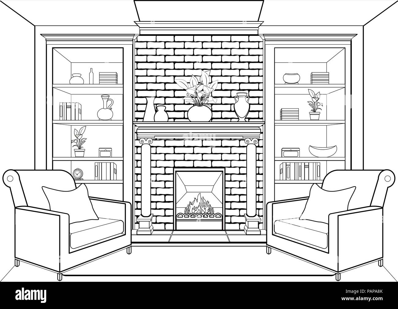 Room With Fireplace Outline Flat Interior Contour Linear