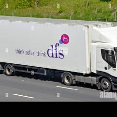 Dfs Sofas Albion Sofa Stock Photos Images Alamy Side View Of Furniture Business Supply Chain Store Delivery Hgv Lorry Truck Long Trailer