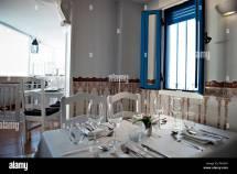 Table Settings In Restaurant Stock &