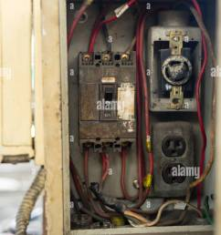 close up old and dirty breakers switch in electric box circuit breakers electrical panel switch with wires [ 866 x 1390 Pixel ]