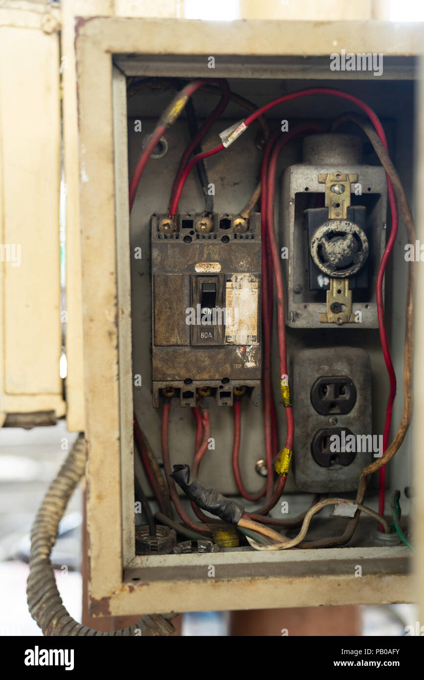 hight resolution of close up old and dirty breakers switch in electric box circuit breakers electrical panel switch with wires