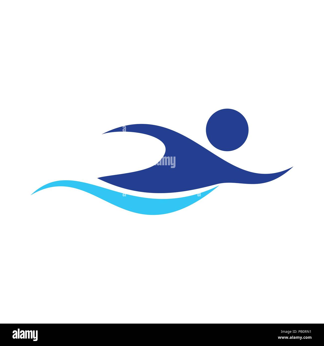 swimming figure abstract swoosh