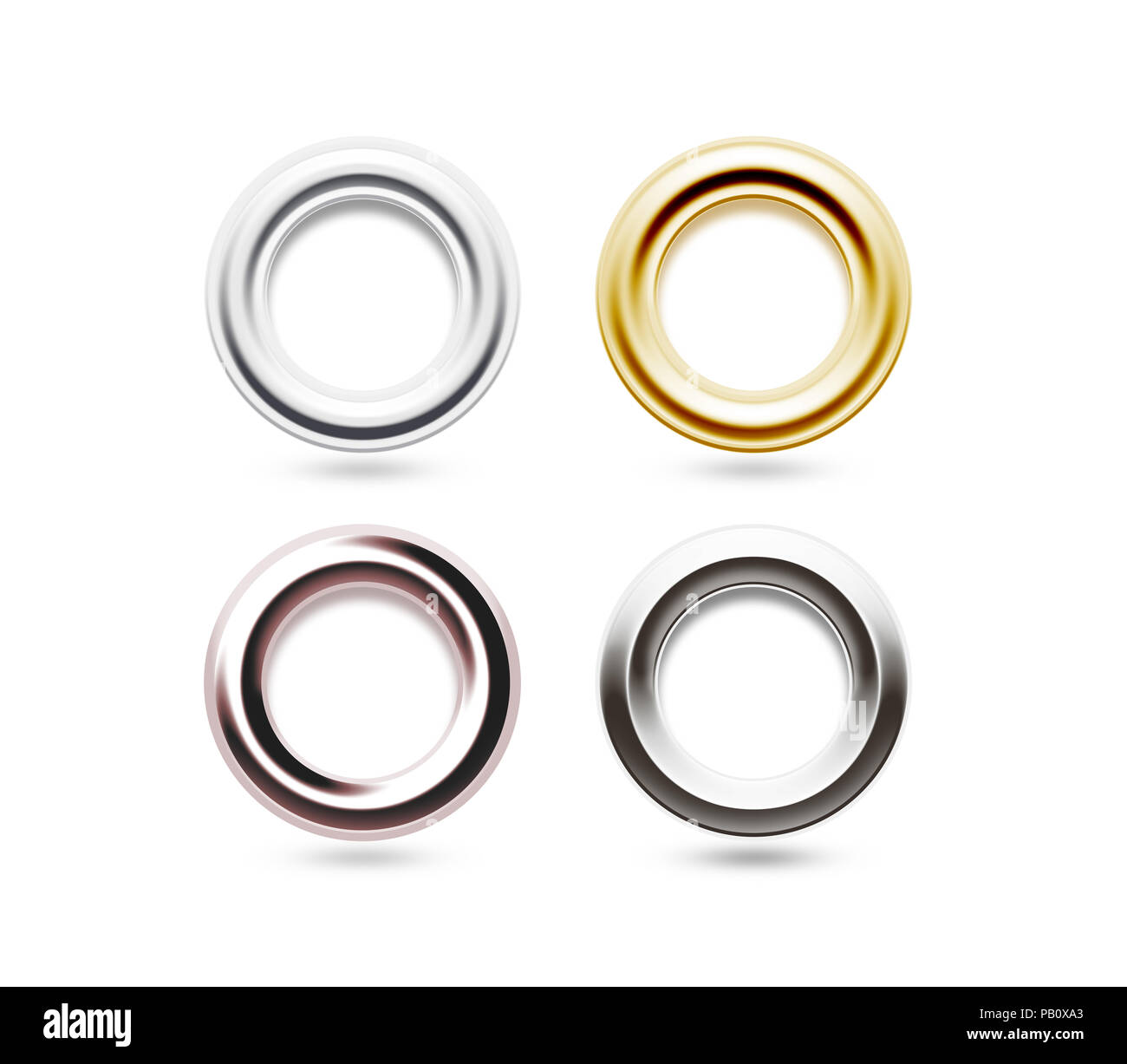https www alamy com grommets set isolated metal brass steel gold silver eyelets banner washers curtain clips grommet ring design chrome cringles card label ta image213306299 html
