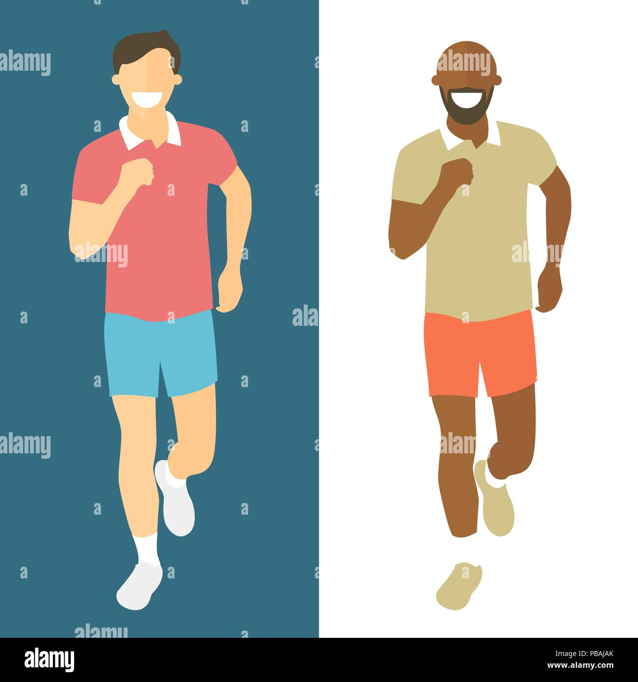 Flat Design Running Men Men Run Front View Vector Illustrations For Healthy Lifestyle Weight