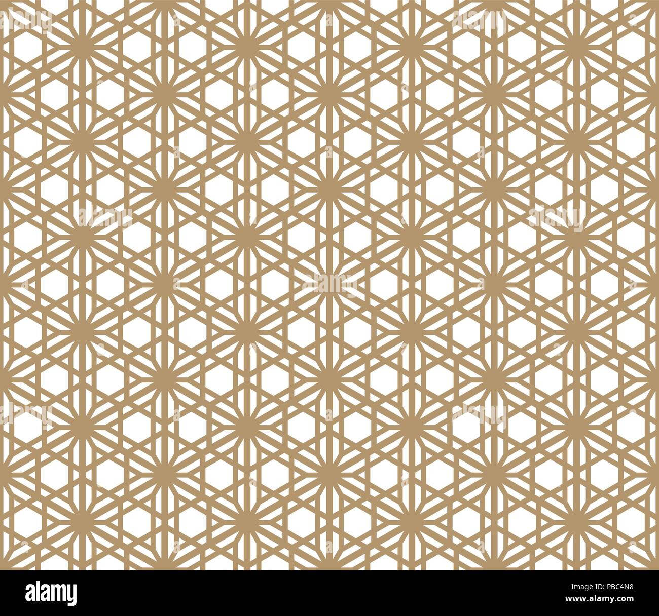 Seamless Pattern Based On Japanese Ornament Kumiko.golden Color.hexagon Grid.  - Stock