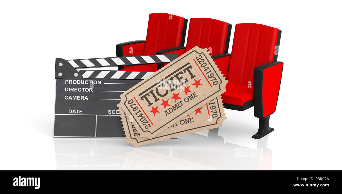 Movie Theater Concept Cinema Old Type Tickets Beige Movie Clapper And Red Movie Theater Seats On A White Background 3d Illustration Stock Photo Alamy