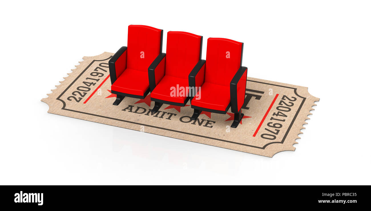 Movie Theater Concept Cinema Old Type Ticket Beige Under Red Movie Theater Seats On A White Background Cutout Isolated 3d Illustration Stock Photo Alamy