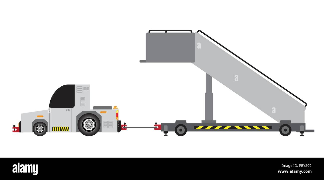 hight resolution of no engine airport stair truck vector and illustration