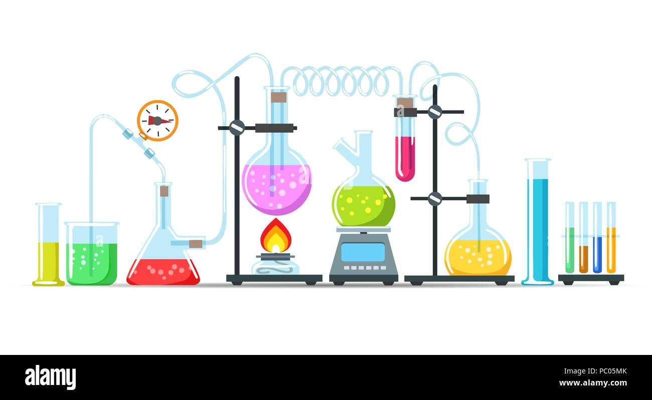 Chemistry Lab Equipment Flasks Beakers And Burner Science Instruments On White Vector