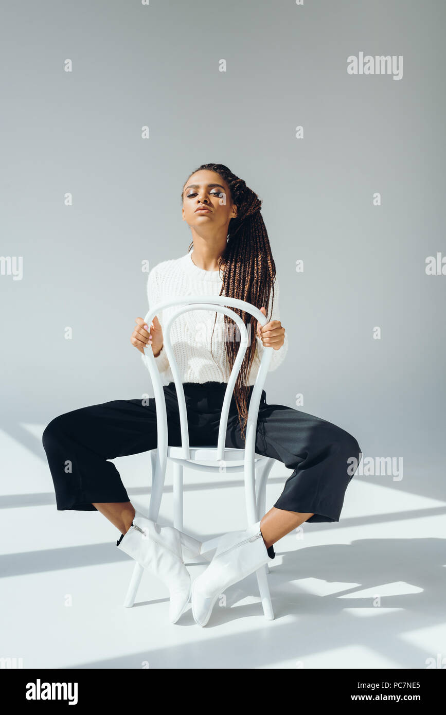 Chair Pants Beautiful African American Woman In Fashionable Sweater And Pants