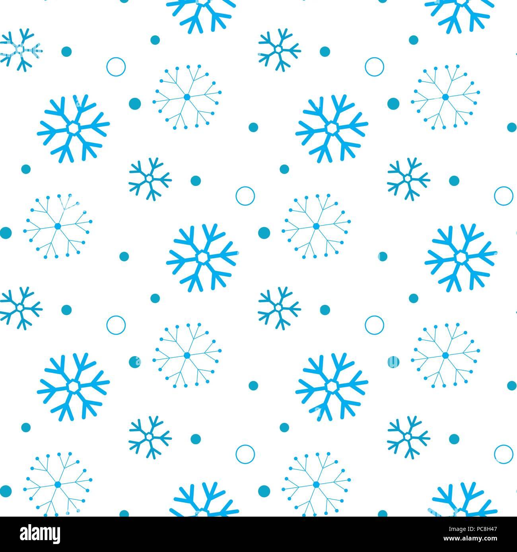Snowflake Seamless Pattern Snow On White Background