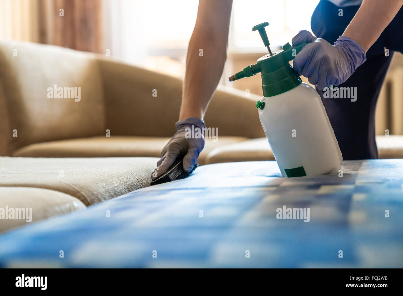sofa cleaner chester piel envejecida stock photos images alamy closeup of upholstered chemical cleaning image