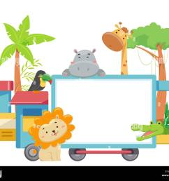 illustration of zoo animals with a blank train board from lion giraffe crocodile  [ 1300 x 1083 Pixel ]