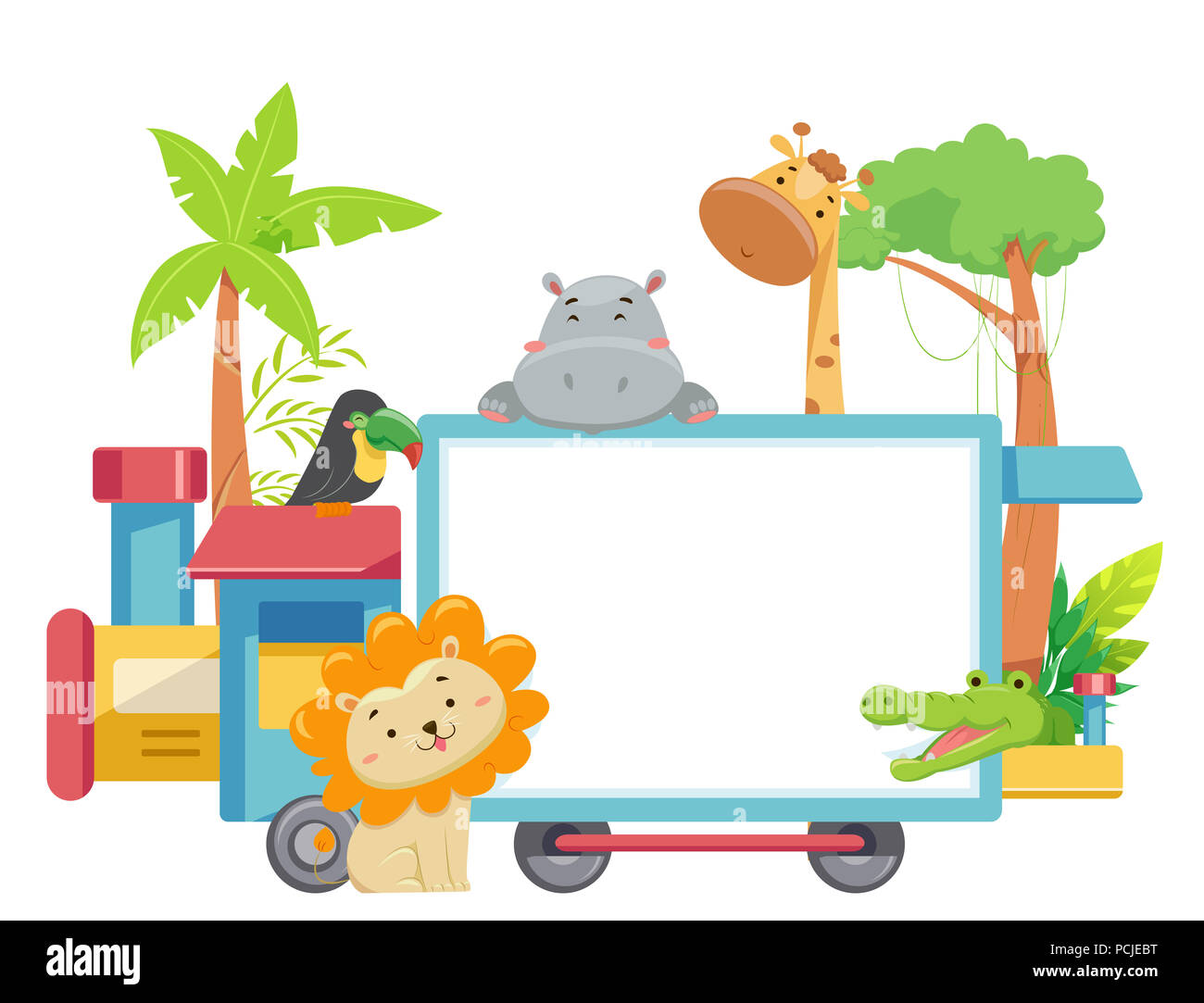 hight resolution of illustration of zoo animals with a blank train board from lion giraffe crocodile