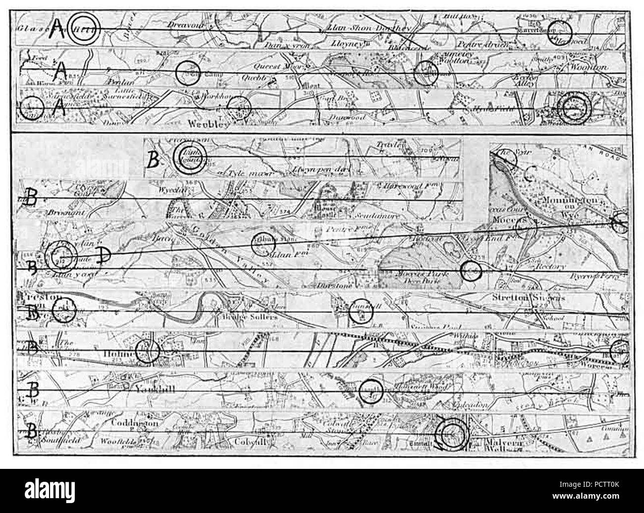 hight resolution of alfred watkins map of two leys stock image