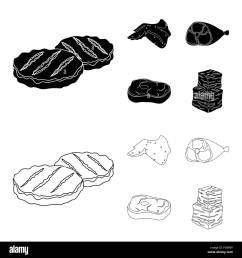 chicken wings ham raw steak beef cubes meat set collection icons in black outline style vector symbol stock illustration  [ 1300 x 1390 Pixel ]