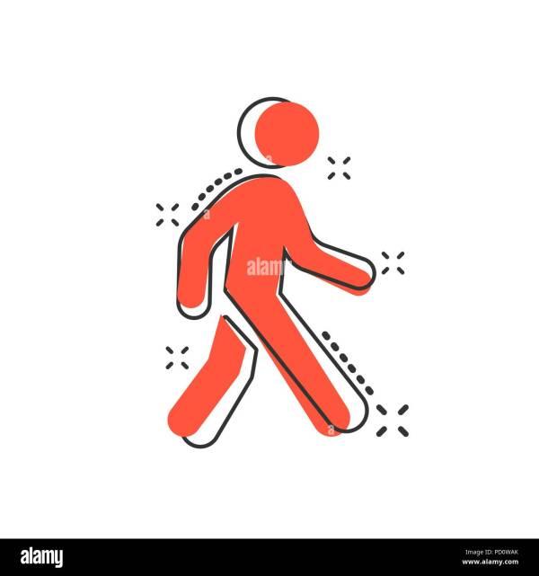 Vector Cartoon Walking Man Icon In Comic Style. People