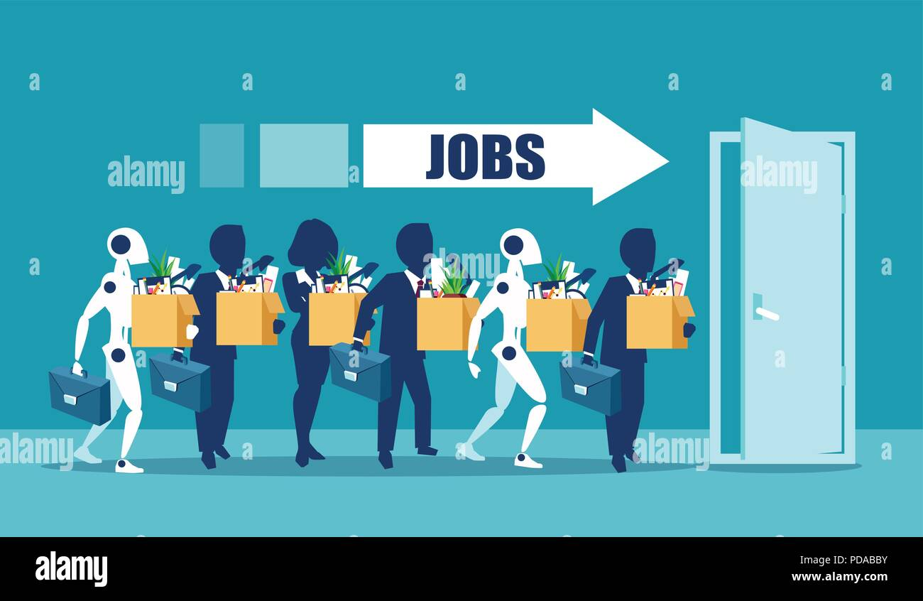 Human Vs Robots Concept Business Job Applicants Competing With Artificial Intelligence Competition Of People And Robot Technology For Jobs Concept Stock Vector Image Art Alamy