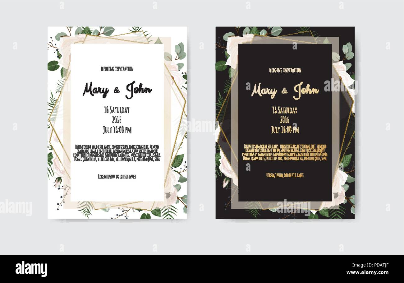 https www alamy com botanical wedding invitation card template design white and pink flowers on white and black background image214753799 html