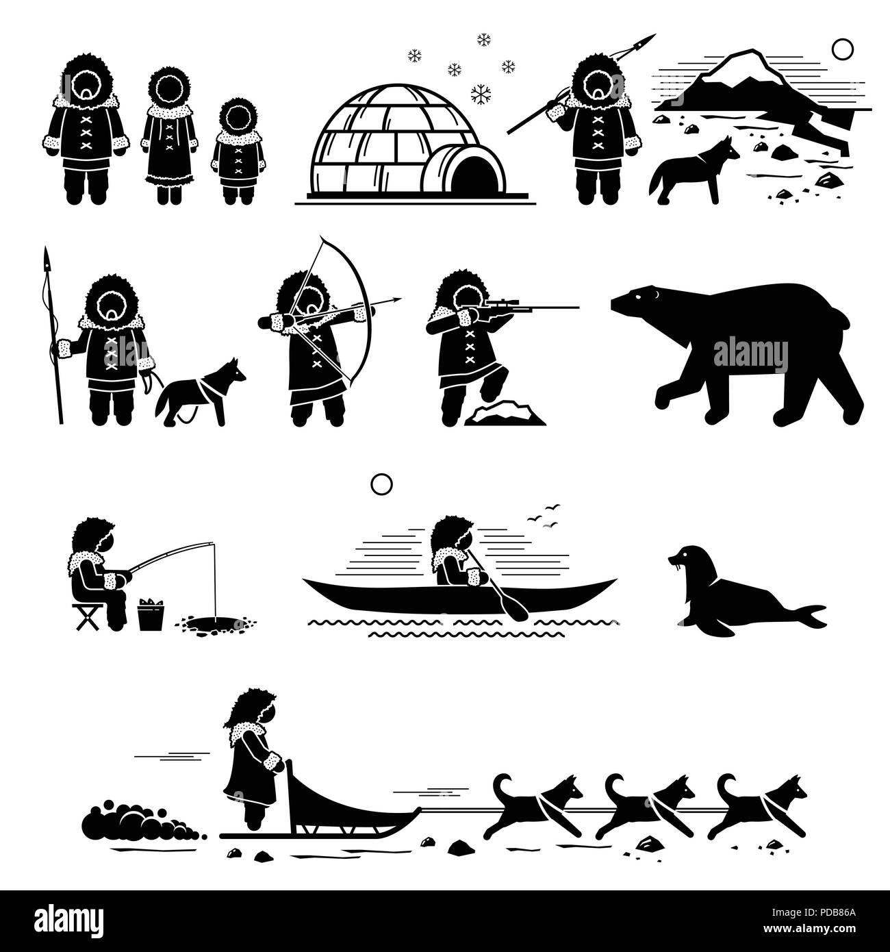 hight resolution of eskimo people lifestyle and animals stick figure pictogram depicts eskimo human igloo