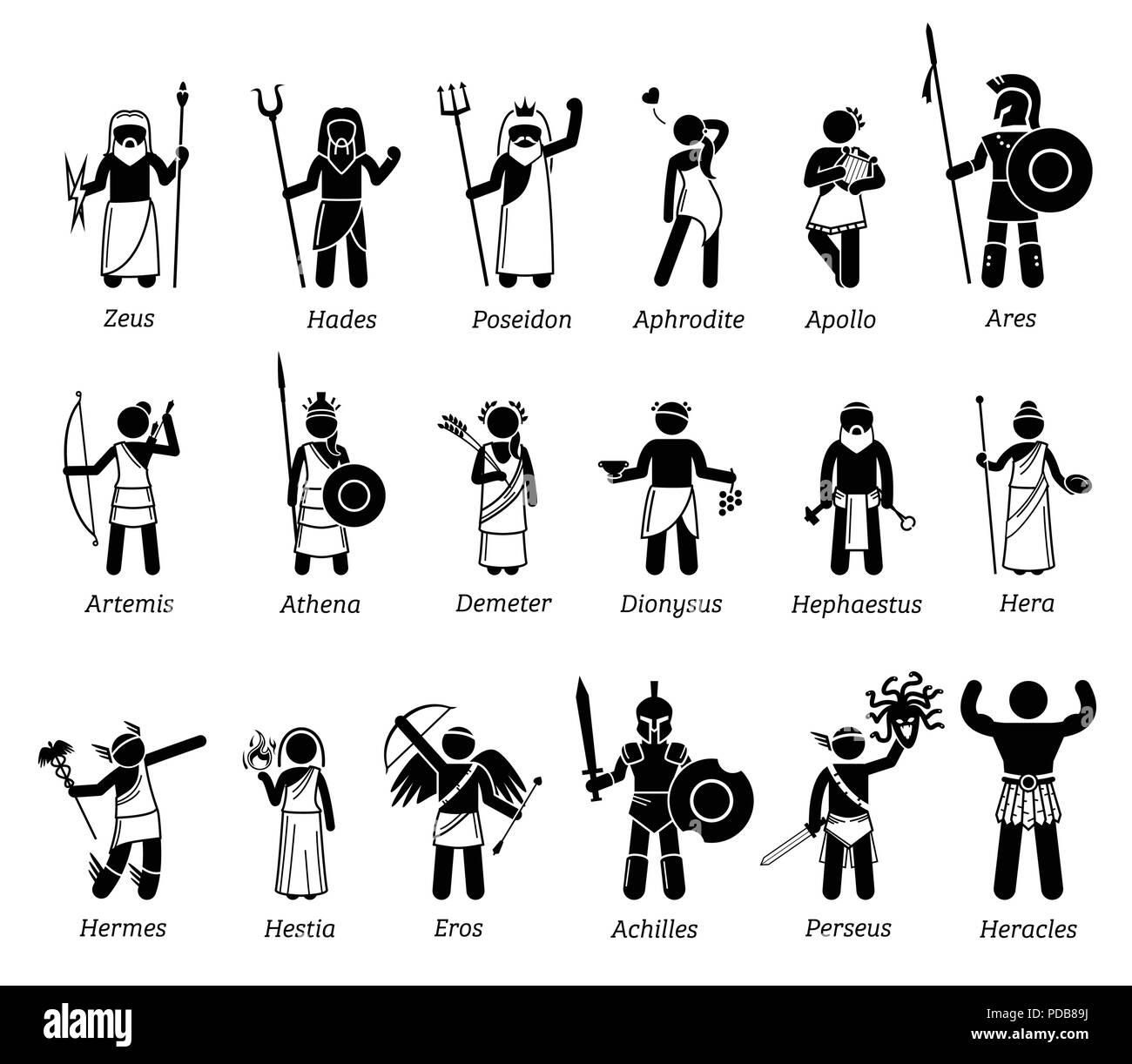 Ancient Greek Mythology Gods And Goddesses Characters Icon
