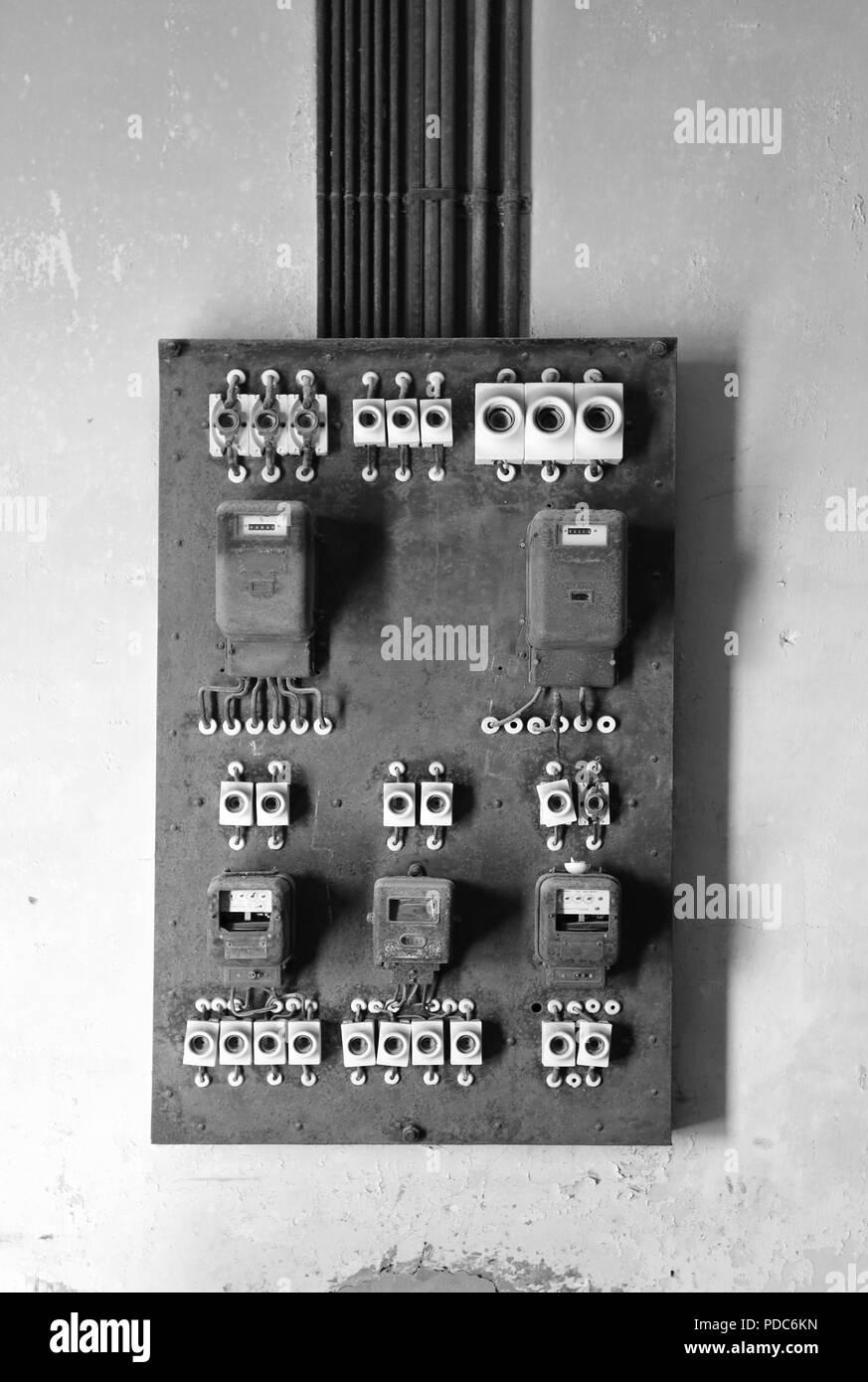 hight resolution of old electricity meter box kolmanskop namibia stock image