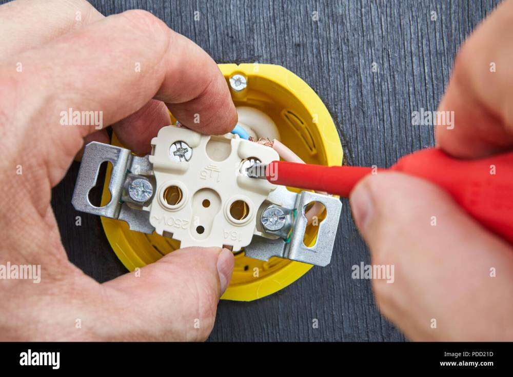 medium resolution of close up installation of household power outlet in home electrical network
