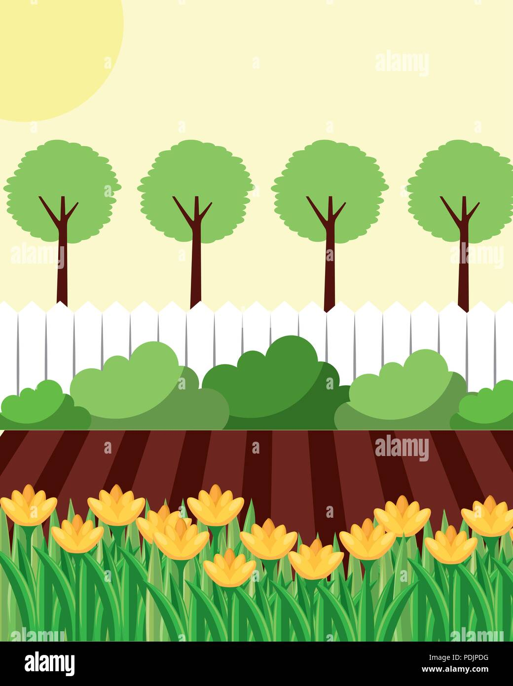 hight resolution of backyard with flowers garden fence and trees stock vector
