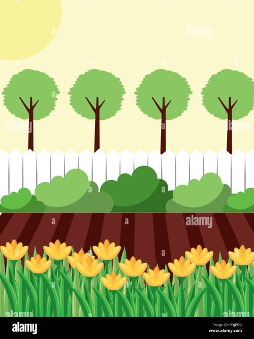small resolution of backyard with flowers garden fence and trees stock vector