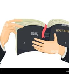 illustration of hands of a priest holding a holy bible stock image [ 1300 x 1072 Pixel ]