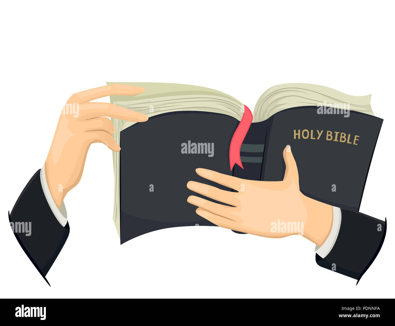 hight resolution of illustration of hands of a priest holding a holy bible stock image