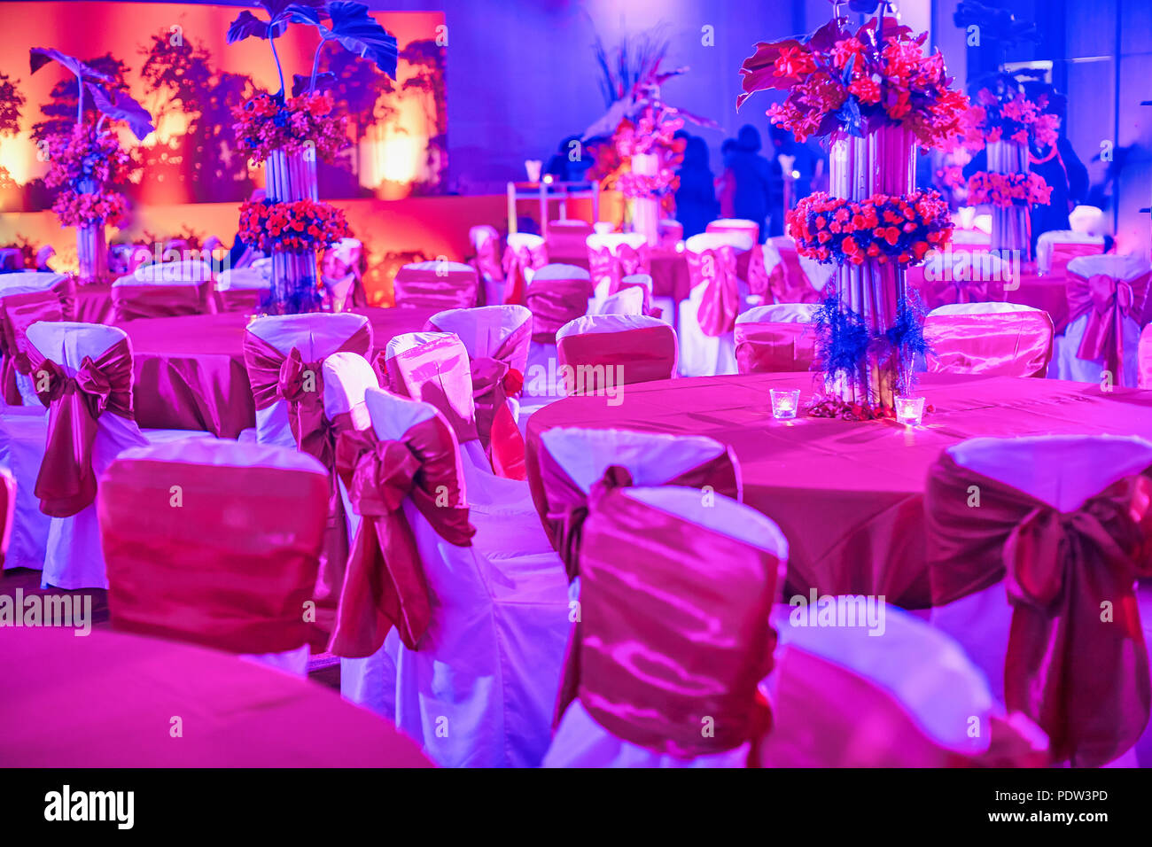 led table and chairs chair sex toy indian wedding reception dinner settings decorating with vase of flower colorful lighting decoration for traditional sangeet