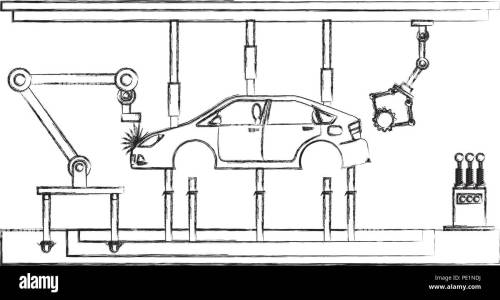 small resolution of automatic production line for industrial automobile production hand drawing design