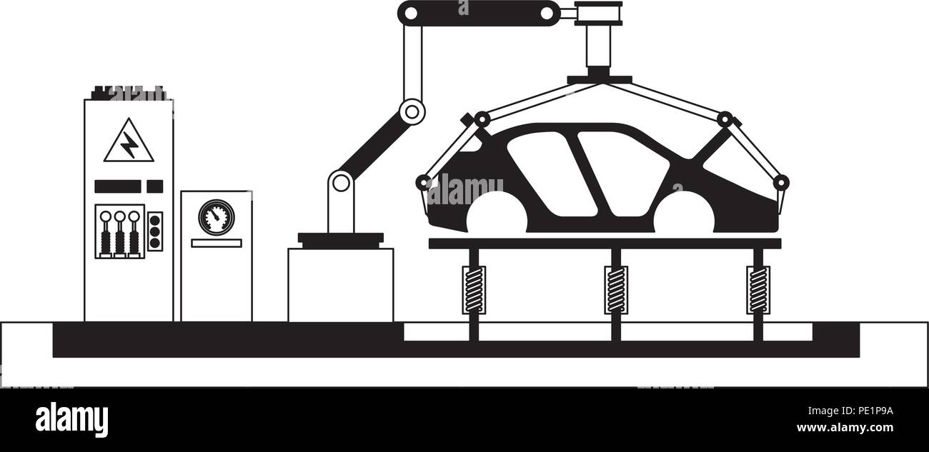 hight resolution of body of car on the assembly line the conveyor at the factory