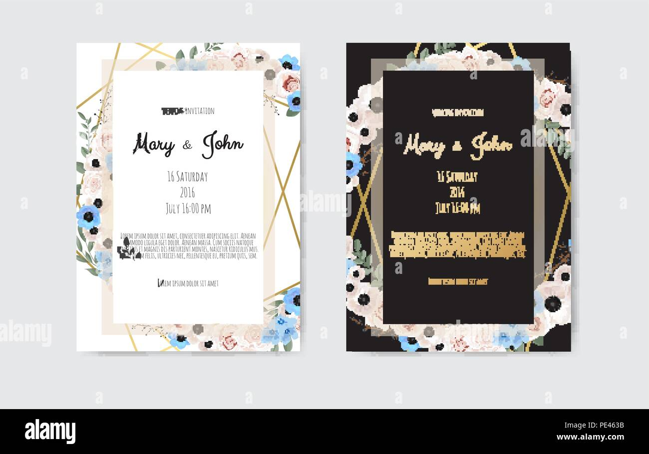 https www alamy com botanical wedding invitation card template design white and pink flowers on white and black background image215222207 html