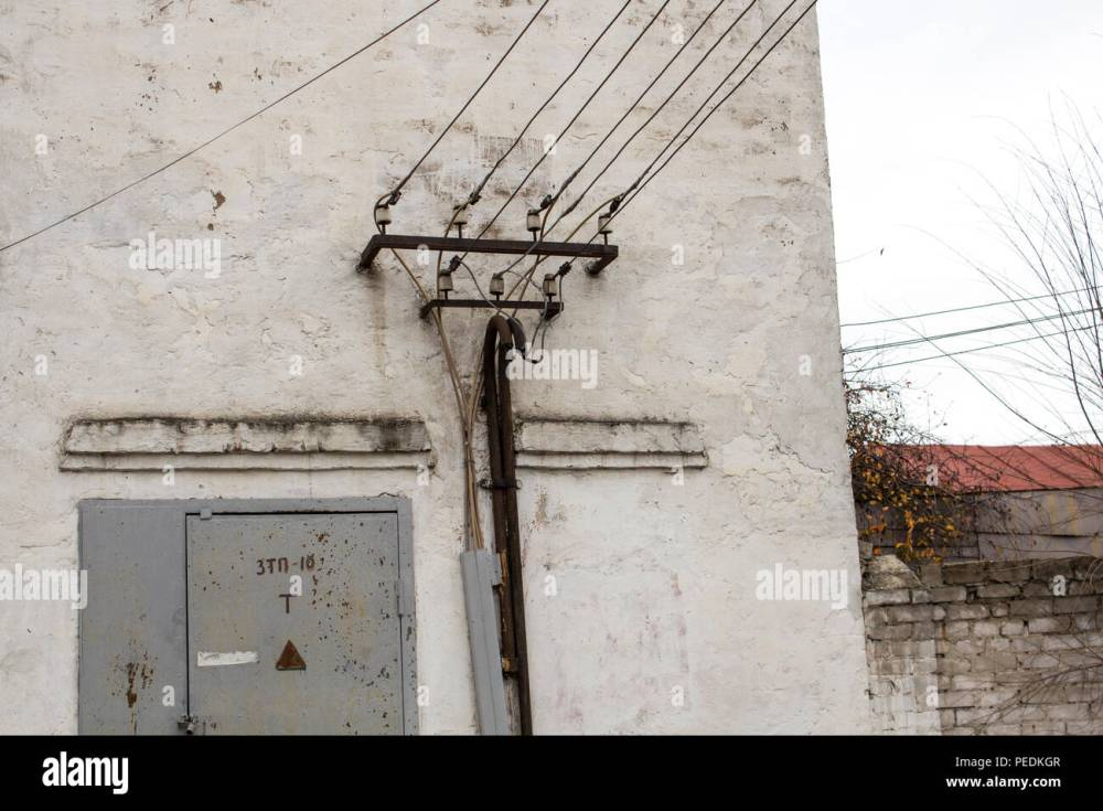 medium resolution of the old building of transformer points transformer points stock image