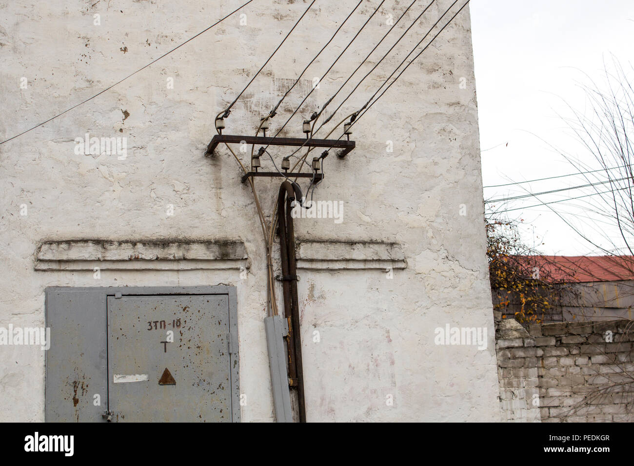 hight resolution of the old building of transformer points transformer points stock image