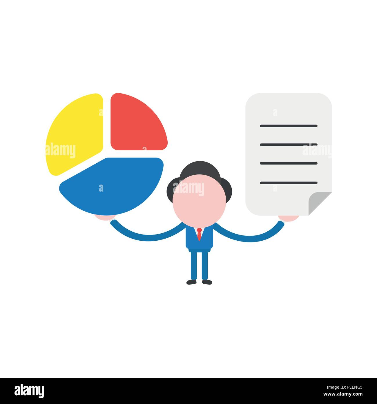 hight resolution of vector illustration of businessman character holding three part diagram pie chart and written paper icon
