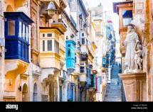Traditional Colorful Houses In La Valletta Malta Stock