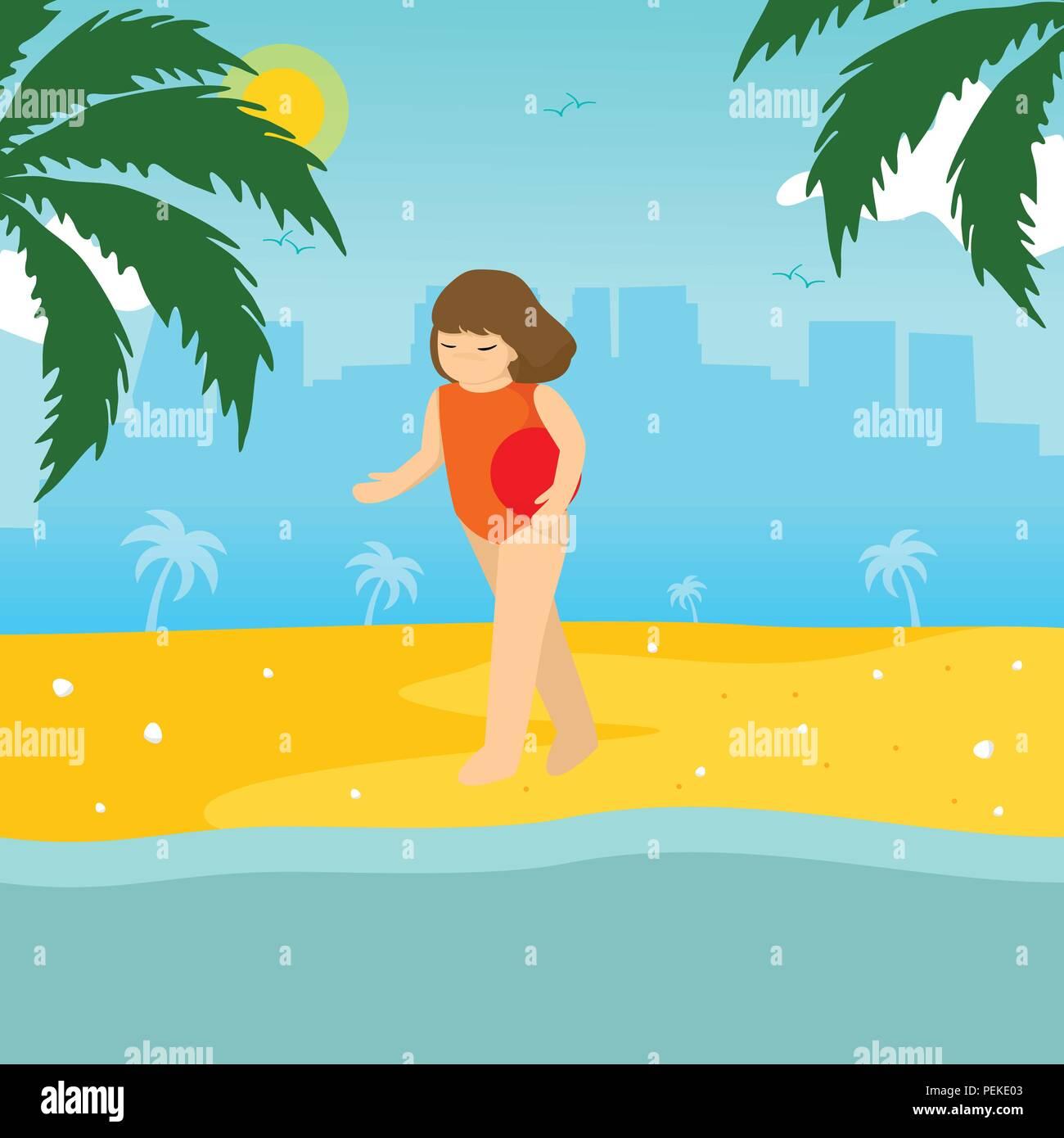 swimming girl summer season