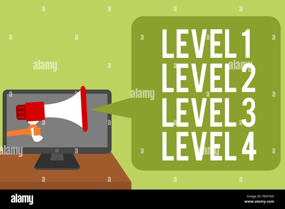 medium resolution of conceptual hand writing showing level 1 level 2 level 3 level 4 business photo text steps levels of a process work flow man holding megaphone loudspe