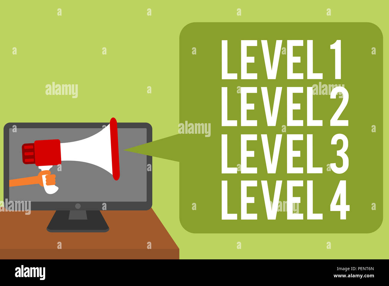 hight resolution of conceptual hand writing showing level 1 level 2 level 3 level 4 business photo text steps levels of a process work flow man holding megaphone loudspe