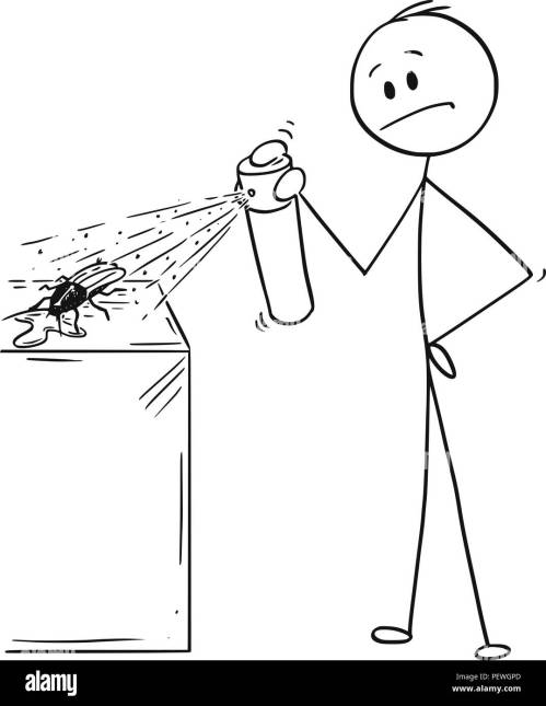 small resolution of cartoon of man hitting and killing a bug or cockroach or roach with insecticide chemical spray